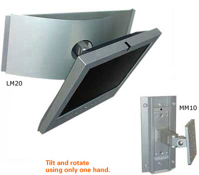 LM20 Large Monitor Wall Mount and MM10 Monitor Wall Mount shown in medical wall track